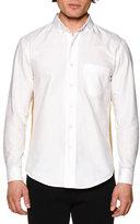 Palm Angels Honor Oxford Shirt w/Metallic Stripe, White Gold