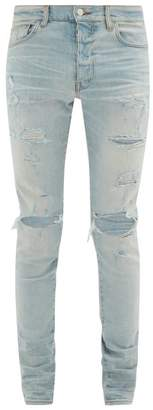 Amiri Trasher Distressed Skinny-fit Jeans - Mens - Light Blue