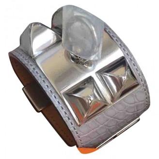 Hermes Collier de chien Beige Alligator Bracelets