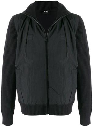 BOSS Ribbed Panel Zip-Up Jacket