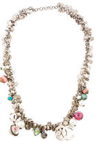 Chanel CC Bead & Faux Pearl Flower Collar Necklace