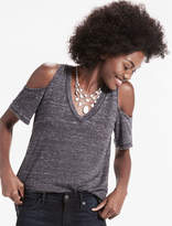 Lucky Brand The Angeles Cold Shoulder V Neck Burnout Tee