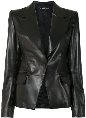 Tom Ford Leather Single-Breasted Blazer