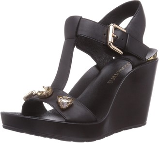 CAFe'NOIR Women's Sandal Fashion Sandals Black Schwarz (494 Nero/Nero) Size: 4