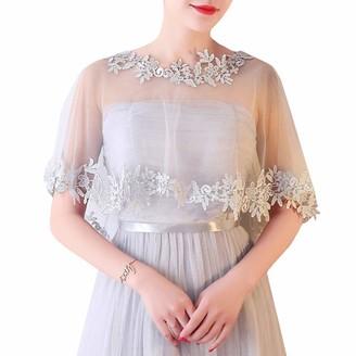 Ym Youmu Women Tulle Bride Flower Lace Shawl Bolero Wrap for Wedding Dress (Pink One Size)