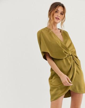 Asos Design DESIGN satin kimono mini dress with knot front and asymmetric sleeve-Beige