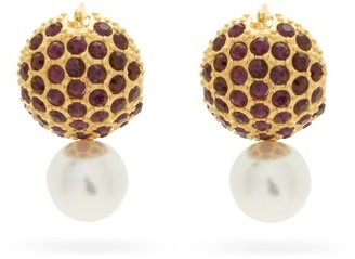 Erdem Faux-pearl And Crystal-embellished Earrings - Red Multi