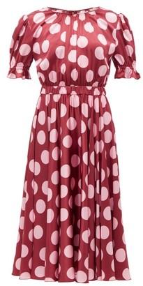 Dolce & Gabbana Polka-dot Silk-blend Satin Dress - Burgundy Multi