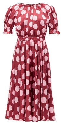 Dolce & Gabbana Polka-dot Silk-blend Satin Dress - Womens - Burgundy Multi