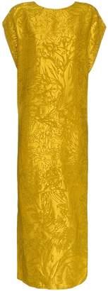 Poiret jacquard backless silk dress