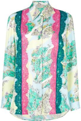 Emilio Pucci Lace Inserts Floral Shirt