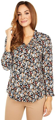 Nic+Zoe Painted Leopard Shirt (Indigo Multi) Women's Clothing