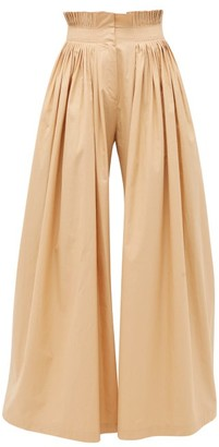 Vika Gazinskaya Pleated High-rise Cotton Wide-leg Trousers - Beige