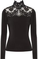 Alice + Olivia Jennine Corded Lace-trimmed Stretch-crepe Top - Black