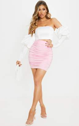 Pure Pink Woven Ruched Front Seam Mini Skirt