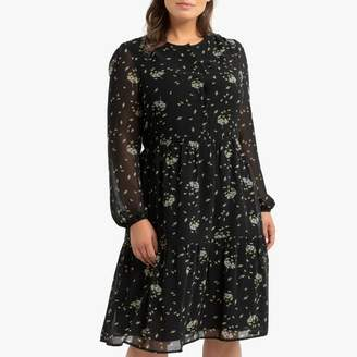 La Redoute Collections Plus Flared Floral Print Dress with Long Transparent Sleeves