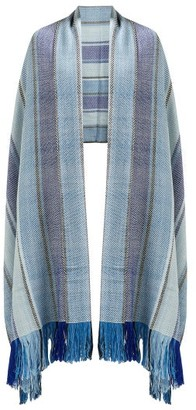 Wehve - Ciel Striped Wool Blanket Scarf - Womens - Blue