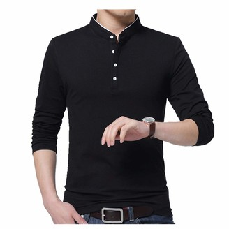 Nobrand Spring and Autumn New Men's Long Sleeve T-Shirt Fashion Men's Bottoming Top Individual Trend T-Shirt Black