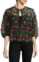 Anna Sui Women's Poppy Trellis Embroidered Jacket