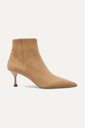 Prada 65 Suede Ankle Boots - Camel