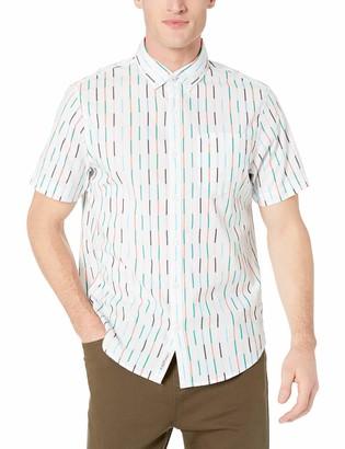 Original Penguin Men's Short Sleeve Vertical Stripe Button Down Shirt