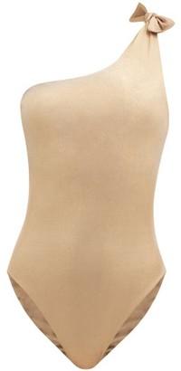 Sara Cristina Nerea Knotted One-shoulder Swimsuit - Gold