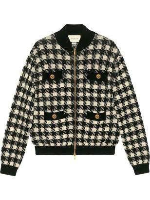 Gucci Houndstooth Knit Zip Bomber Jacket