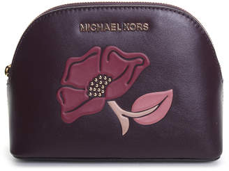 Michael Kors Women's Clutches DAMSON/MULBERRY - Damson & Mulberry Flower Leather Travel Pouch