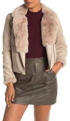 Catherine Malandrino Faux Fur Trimmed Faux Suede Moto Jacket