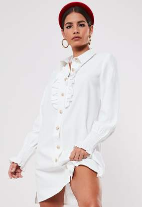Missguided White Gold Look Button Front Ruffle Shirt Dress