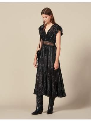 Sandro Long Lurex Silk Dress