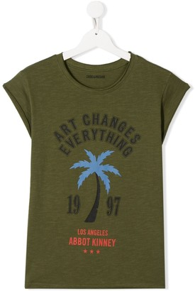 Zadig & Voltaire Kids Art Changes Everything print round neck T-shirt