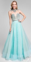 Terani Couture Lace Illusion Beaded Keyhole Ball Gown