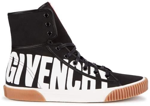Givenchy Black Logo-print Canvas Hi-top Trainers