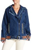 Nicole Miller Embroidered & Shredded Denim Jacket