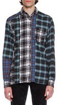 Lanvin Patchwork Plaid Flannel Shirt, Blue/Black