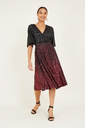 Yumi Black Ombre Sequin Wrap Dress
