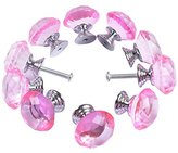 Crystal Cabinet Knobs Yazer 30mm 10 Pack Universal Crystal Drawer Handles Fashion Handles for Cupboard,Wardrobe,Kitchen,Door,Cabinet and More (Pink)