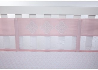 NoJo Chantilly Pink and White 4 Piece Secure-Me Nursery Crib Liner