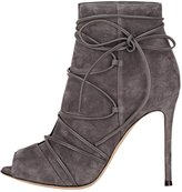Guoar Women's High Heel Shoes Bootie Big Size Gladiator Cut Out Peep-Toe Strappy Ankle Boots for Wedding Party Dress Grey US9