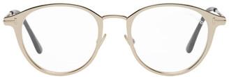 Tom Ford Rose Gold Blue Block Round Glasses