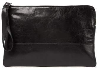 Tusk Top Zip Leather Wristlet Pouch