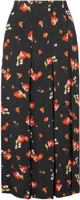 Vilshenko Keeley Pleated Floral-print Jacquard Midi Skirt
