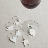 Crate & Barrel White Porcelain Wine Charms Set of Six