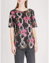 Sandro Floral-print jersey top