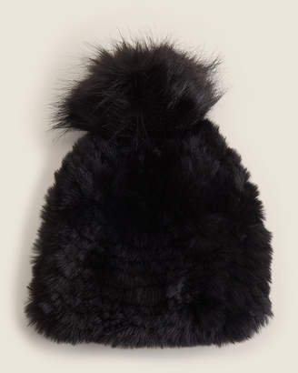 Steve Madden Solid Knit Hat With Faux Fur Pom