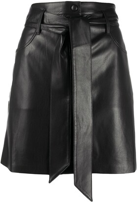 Nanushka Belted Faux-Leather Skirt