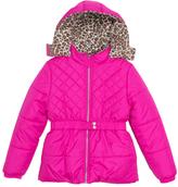 Pink Platinum Pink Quilted Cheetah Puffer Jacket - Toddler & Girls