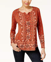 Style&Co. Style & Co Petite Printed Lace-Up Top, Created for Macy's