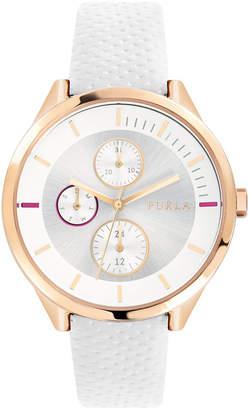 Furla Women Metropolis Silver Dial Calfskin Leather Watch